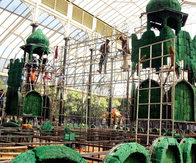 Preparations for upcoming Republic Day Flower Show underway at Lalbagh, in Bengaluru on Jan 13, 2015.