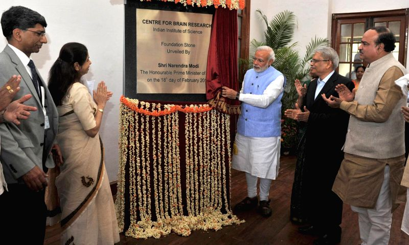 Prime Minister Narendra Modi lays the foundation stone of the Centre for Brain Research, at IISc, in Bengaluru on Feb 18, 2015. The Union Minister for Chemicals and Fertilizers, ... - Narendra Modi
