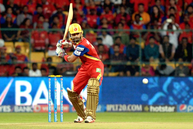 Royal Challengers Bangalore batsman Virat Kohli in action during an IPL-2015 match between Royal Challengers Bangalore and Kolkata Knight Riders at M Chinnaswamy Stadium in Bangaluru on ... - Virat Kohli