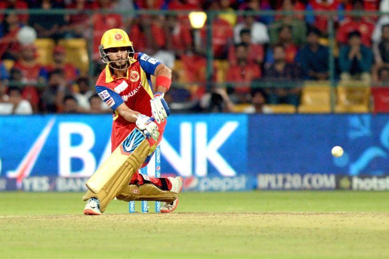 Royal Challengers Bangalore batsman Mandeep Singh in action during an IPL-2015 match between Royal Challengers Bangalore and Kolkata Knight Riders at M Chinnaswamy Stadium in Bangaluru on ... - Mandeep Singh