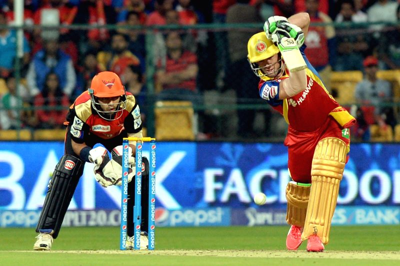 Royal Challengers Bangalore batsman AB de Villiers in action during an IPL-2015 match between Royal Challengers Bangalore and Sunrisers Hyderabad at M Chinnaswamy Stadium, in Bengaluru, on ...