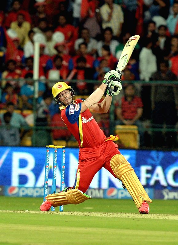 Royal Challengers Bangalore batsman AB de Villiers in action during an IPL-2015 match between Royal Challengers Bangalore and Sunrisers Hyderabad at M Chinnaswamy Stadium, in Bengaluru, ...