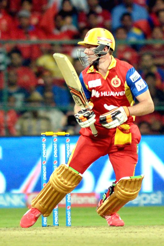 Royal Challengers Bangalore  batsman AB de Villiers during an IPL-2015 match between Royal Challengers Bangalore and Mumbai Indians at M Chinnaswamy Stadium, in Bengaluru, on April 19, ...
