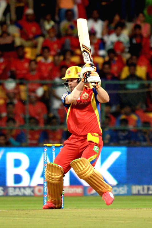 Royal Challengers Bangalore batsman AB de Villiers in action during an IPL-2015 match between Royal Challengers Bangalore and Rajasthan Royals at M Chinnaswamy Stadium in Bangaluru on ...