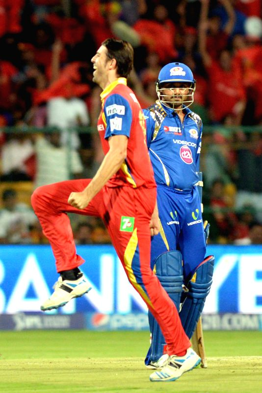 Royal Challengers Bangalore player David Wiese during an IPL-2015 match between Royal Challengers Bangalore and Mumbai Indians at M Chinnaswamy Stadium, in Bengaluru, on April 19, 2015.