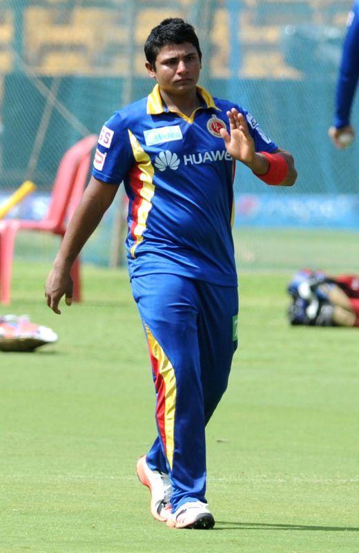 Royal Challengers Bangalore player Sarfaraz Khan during a practice session at M Chinnaswamy Stadium, in Bengaluru, on May 1, 2015. - Sarfaraz Khan