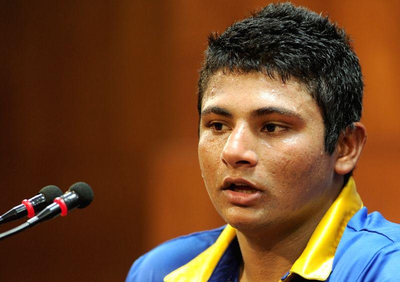 Royal Challengers Bangalore player Sarfaraz Khan addresses at M Chinnaswamy Stadium, in Bengaluru, on May 1, 2015. - Sarfaraz Khan