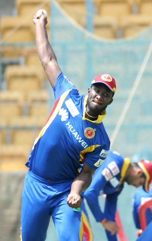 Royal Challengers Bangalore player Darren Sammy during a practice session at M Chinnaswamy Stadium, in Bengaluru, on May 1, 2015.
