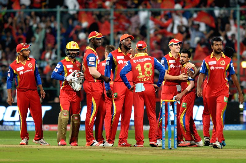 Royal Challengers Bangalore players celebrate fall of a wicket  during an IPL-2015 match between Royal Challengers Bangalore and Sunrisers Hyderabad at M Chinnaswamy Stadium, in ...