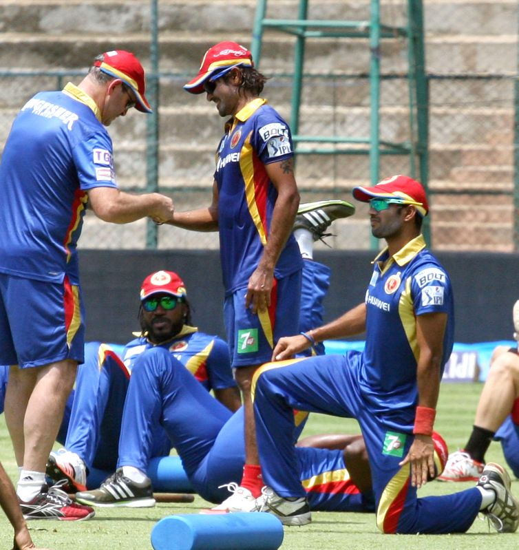 Royal Challengers Bangalore players during a practice session at M Chinnaswamy Stadium, in Bengaluru, on May 1, 2015.