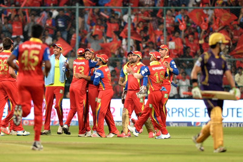 Royal Challengers Bangalore players celebrate fall of a wicket during an IPL-2015 match between Royal Challengers Bangalore and Kolkata Knight Riders at M Chinnaswamy Stadium in Bangaluru ...