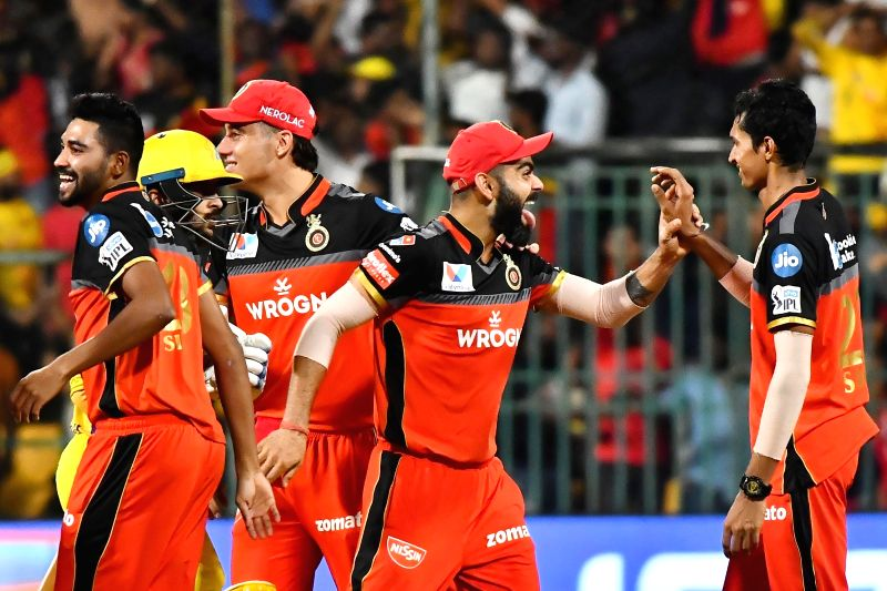 Royal Challengers Bangalore's skipper Virat Kohli celebrates after winning the 39th match of IPL 2019 against Chennai Super Kings at M.Chinnaswamy Stadium in Bengaluru