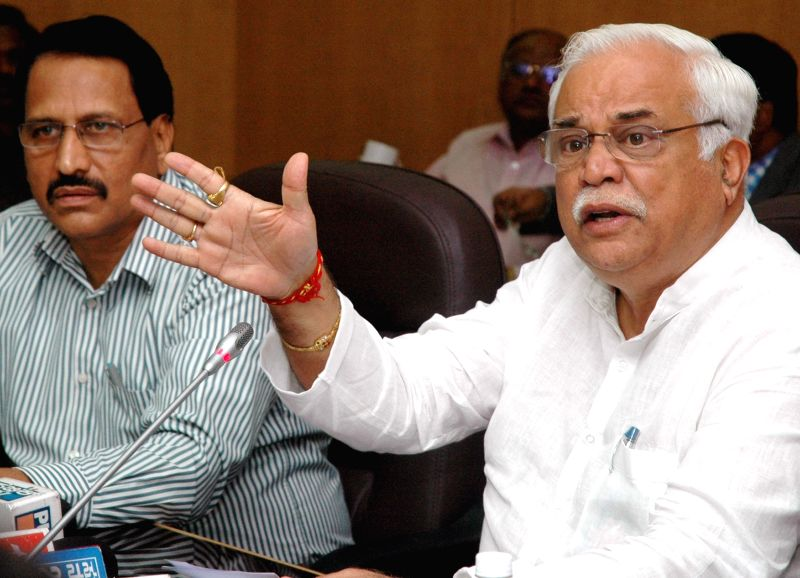 RV Deshpande Minister for Higher Education and Tourism briefing media on milestone in the path of progress in Higher Education and Department of Technical Education in the state, the press