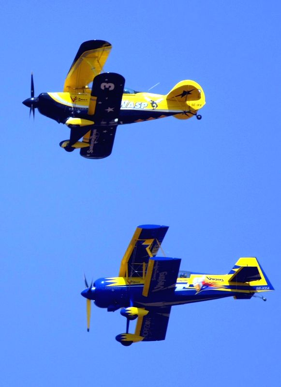 Scandinavian wasp and Viking aircraft flies in Bengaluru skies during the rehearsal for the Aero India show 2015 at Yelhanaka Airforce Station on Feb 17, 2015.