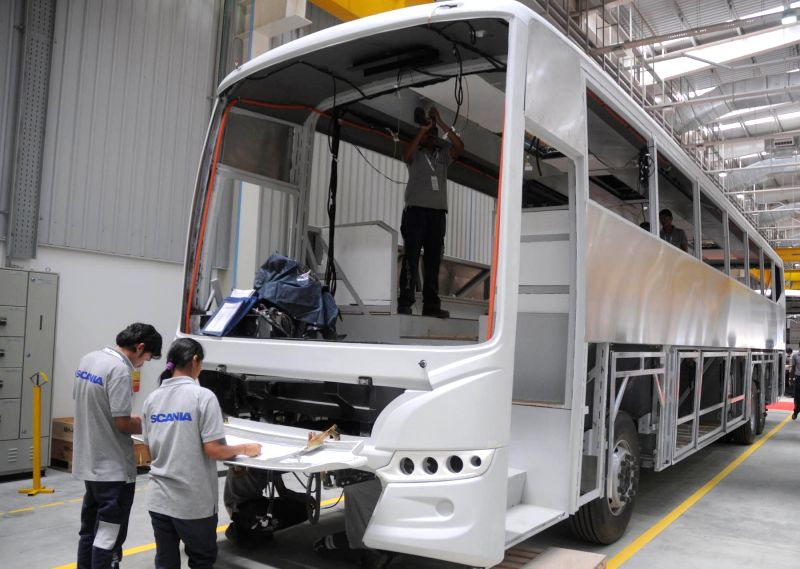 Scania Bus factory workers at the newly inaugurated Scania bus factory located in the outskirts of Bengaluru on March 30, 2015.
