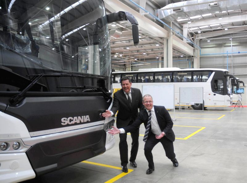 Scania Group president and CEO Martin Lundstedt and Scania Group MD Anders Grundstromer at the newly inauguration of Scania bus factory located in the outskirts of Bengaluru on March 30, ...