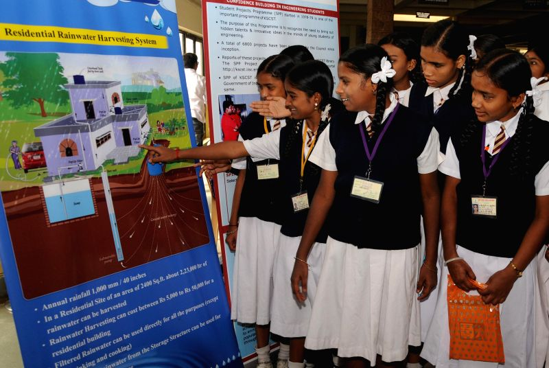 School students visit a science exhibition organised by Karnataka State Council for Science and Technology on National Science Day 2015 at IISC in Bengaluru on Feb 28, 2015.