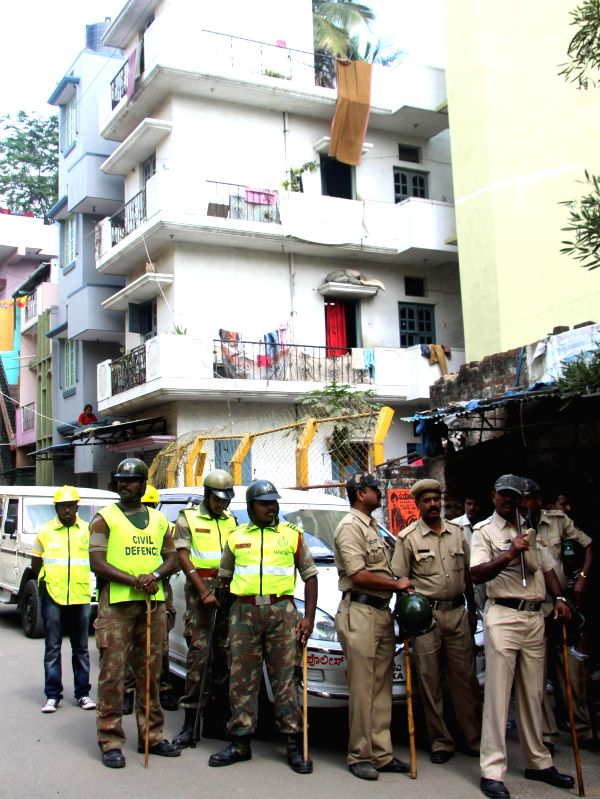Security beefed in the area where a violence erupted after a minor was allegedly molested by a teacher on 7th Jan 2015 in Bengaluru, on Jan 8, 2015.