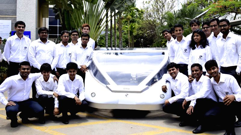 `SERVe` - Solar Electric Road Vehicle, developed by team Solarmobil - comprising of 27 engineering students - unveiled in Bengaluru, on April 23, 2015.