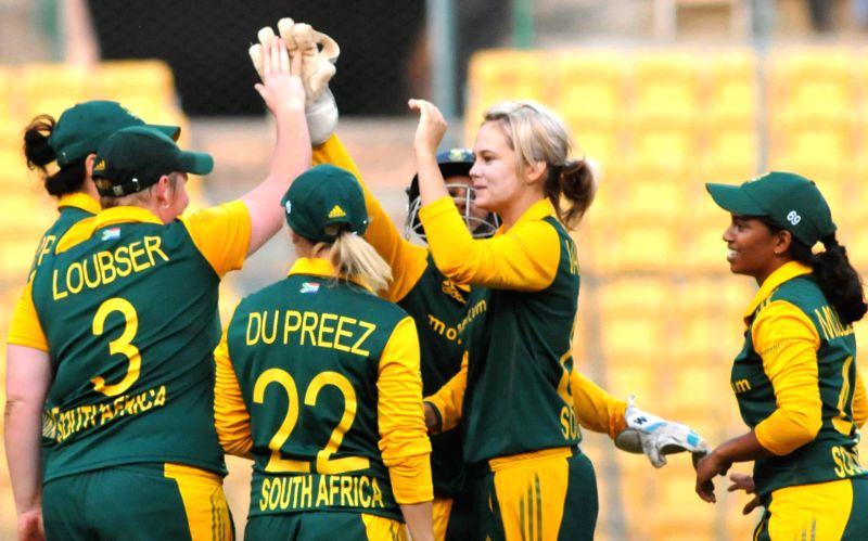 South Africa players celebrates after the fall of wicket during South Africa v/s India Women first of the three womens One-Day Internationals at Chinnaswamy Stadium, in Bengaluru on Nov ...