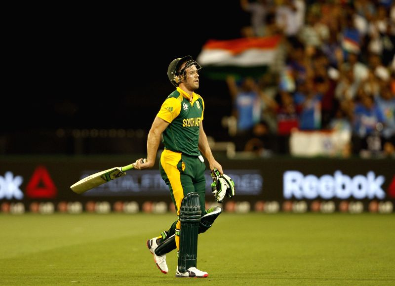 South African player AB de Villiers returns back to pavilion after getting dismissed during an ICC World Cup 2015 match between India and South Africa at Melbourne Cricket Ground, ...