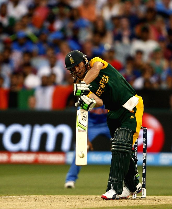 South African player AB de Villiers in action during an ICC World Cup 2015 match between India and South Africa at Melbourne Cricket Ground, Australia on Feb 22, 2015.