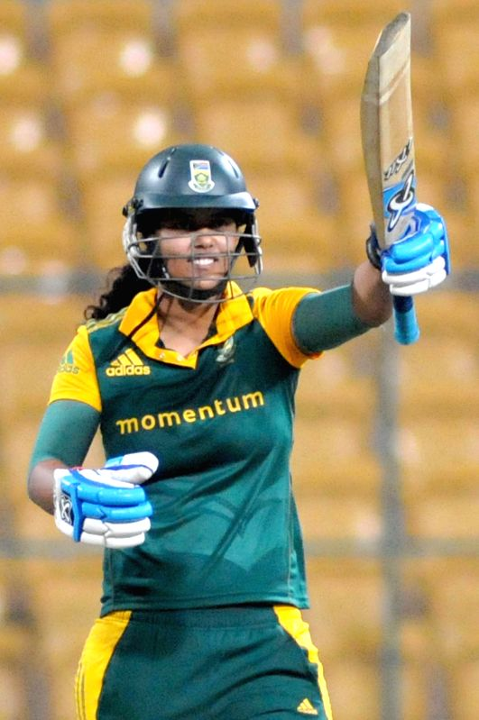 South African player Chloe Tyron celebrates after her half century against India during South Africa v/s India Women first of the three womens One-Day Internationals at Chinnaswamy ...