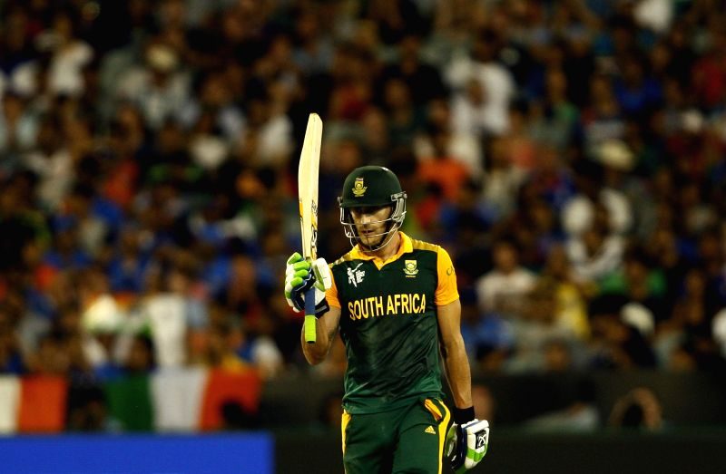 South African player Faf du Plessis in action during an ICC World Cup 2015 match between India and South Africa at Melbourne Cricket Ground, Australia on Feb 22, 2015.