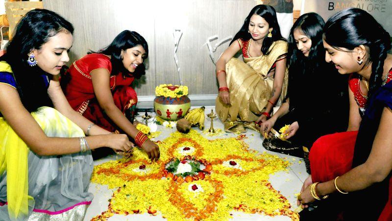 Students celebrate Sankranti at a Bengaluru school on Jan 15, 2015.