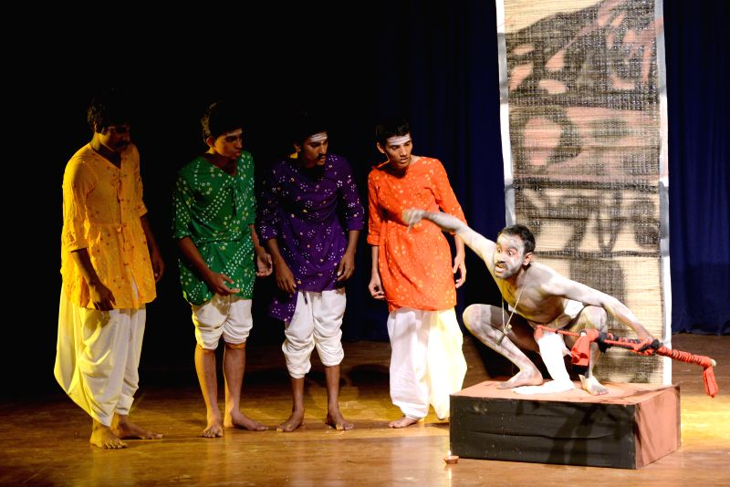 Students of Government First Grade College, Vijayanagar stage `Allamana Bayalata` - a drama during College Rangotsava in Bengaluru, on Feb 15, 2015.