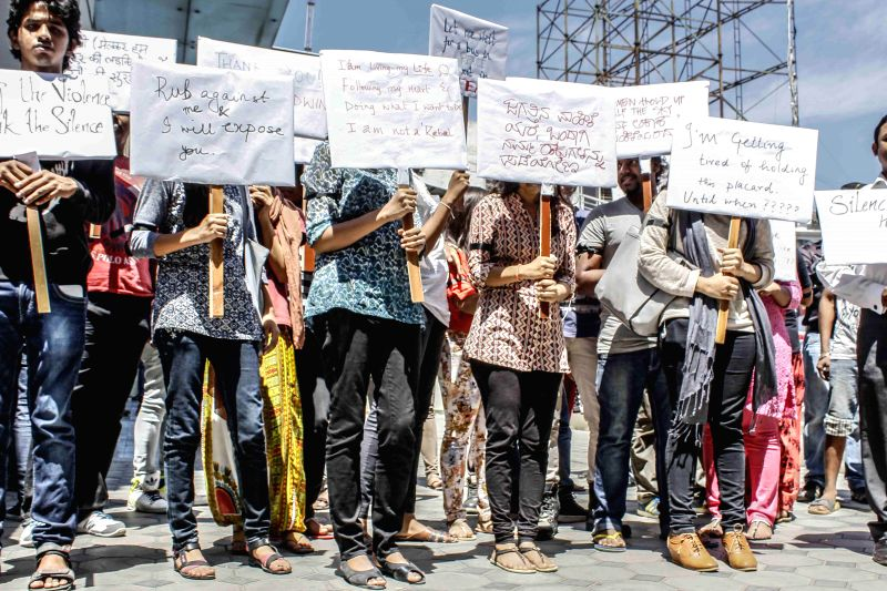 Students participate in a silent protest to urge the central government to lift the ban on ``India's Daughter`` - the BBC documentary on the December 16, 2012 gang rape in Bengaluru, on ...
