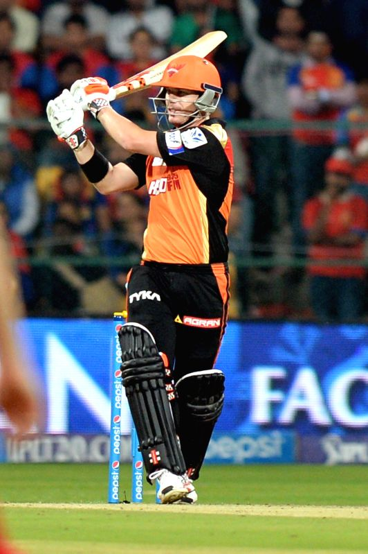 Sunrise Hyderabad captain David Warner in action during an IPL-2015 match between Royal Challengers Bangalore and Sunrisers Hyderabad at M Chinnaswamy Stadium, in Bengaluru, on April 13, ... - David Warner