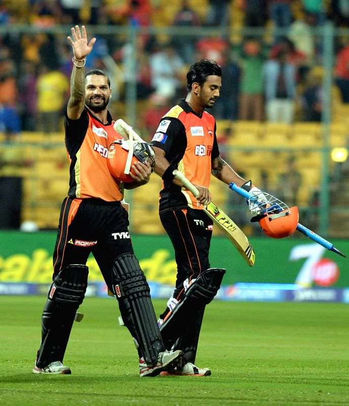 Sunrisers Hyderabad batsmen Shikhar Dhawan and Lokesh Rahul after winning the IPL-2015 match against Royal Challengers Bangalore at M Chinnaswamy Stadium, in Bengaluru, on April 13, 2015. - Shikhar Dhawan and Lokesh Rahul