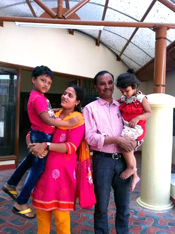 T Ravikumar, Bengaluru based engineer reunites with his family after an ordeal in Yemen for 10 days, rejoicing with his family in Bengaluru, on April 4, 2015.