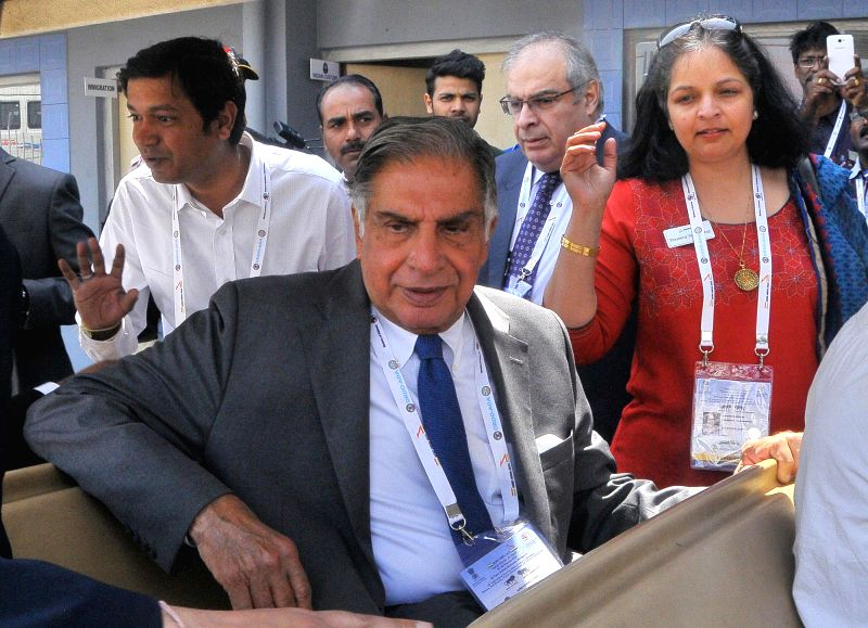 Tata group Chairman Emeritus Ratan Tata during the second day of Aero India-2015 Air Show, at Yelahanka Air-force Station, in Bengaluru on Feb 19, 2015.