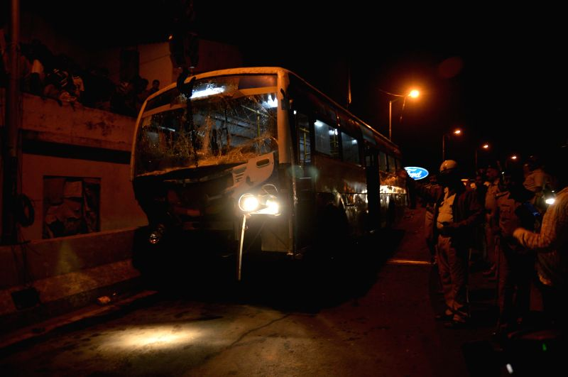 The bus that met with an accident after its driver lost control over wheels in Bengaluru on Dec 24, 2014. Reportedly four people were killed in the accident.