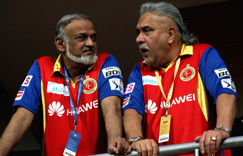 The chairman of United Spirits (USL) and co-owner of Royal Challengers Bangalore Vijay Mallya during an IPL-2015 match between Royal Challengers Bangalore and Kolkata Knight Riders at M ...