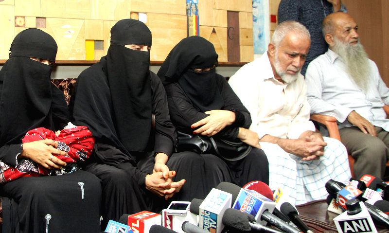 The family members of the three suspected members of banned outfit Indian Mujahideen, who were arrested for their involvement in the Dec 28 Church street blast talk to press at Press Club .