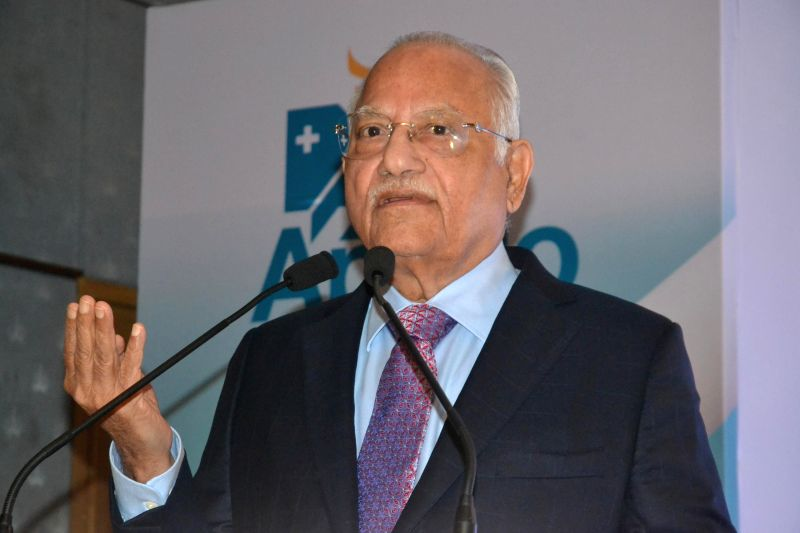 The founder-chairman of Apollo Hospitals Group Dr Prathap C Reddy addresses a press conference regarding the future plans of the hospital in Bengaluru on Dec 15, 2014.