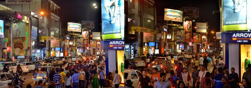 The shops keep lights on during the Earth Hour 2015 in Bengaluru, on March 28, 2015.