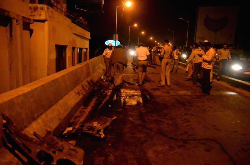 The spot where a bus met with an accident reportedly killing four people in Bengaluru on Dec 24, 2014.