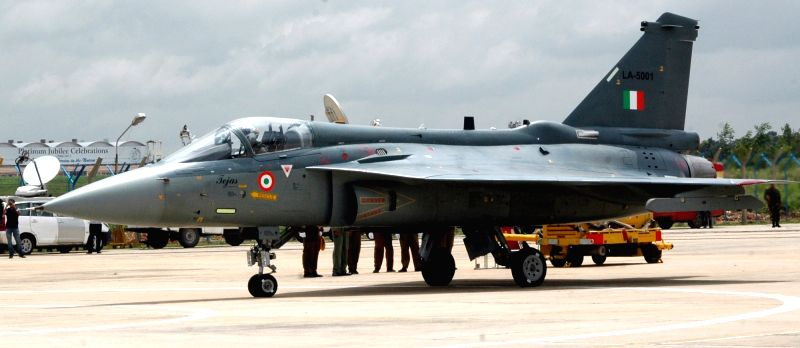 The Tejas Light Combat Aircraft (LCA) during its induction ceremony at HAL