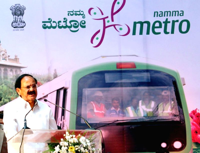 The Union Minister for Urban Development, Housing and Urban Poverty Alleviation and Parliamentary Affairs, M. Venkaiah Naidu addresses at the inaugural function of the Namma Metro Line of ... - M. Venkaiah Naidu