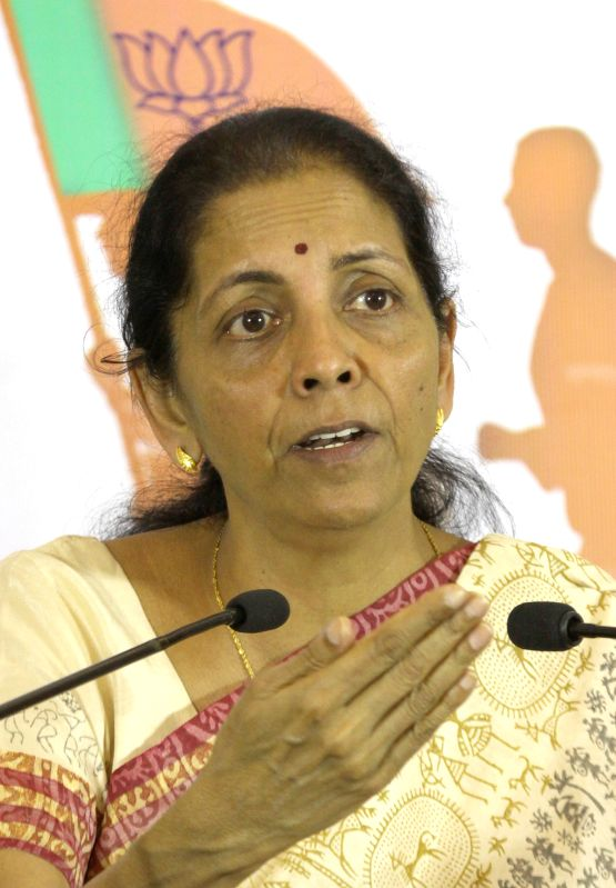 The Union Minister of State for Commerce and Industry Nirmala Sitharaman addresses during a press conference in Bengaluru, on April 4, 2015.