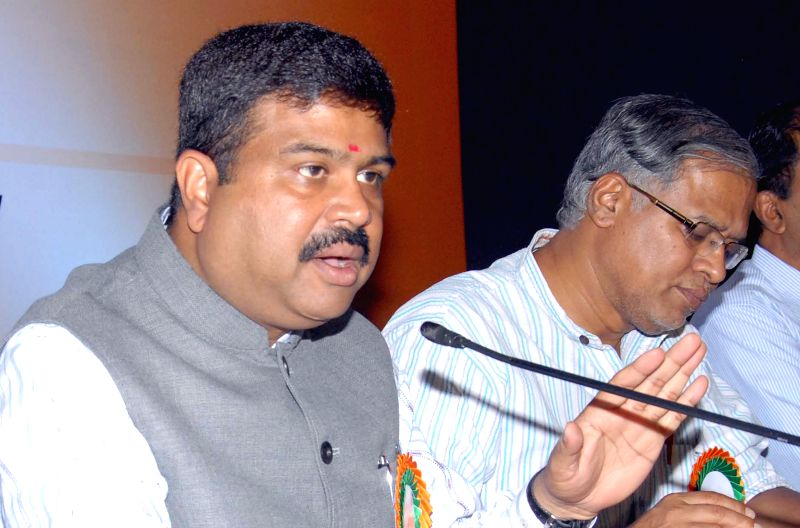 The Union Minster of State for Petroleum and Natural Gas Dharmendra Pradhan addresses during the ``Giveitup`` movement (Giving Up LPG subsidy) in Bengaluru, on April 4, 2015.