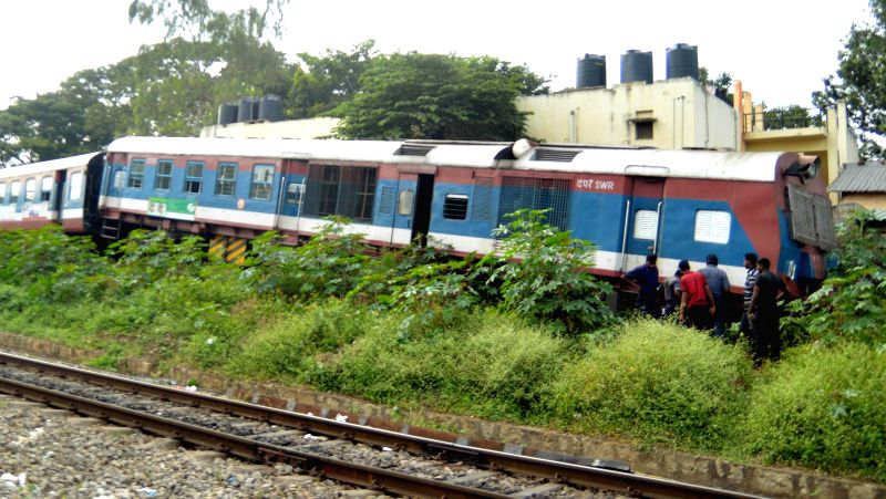 Train derails while reversing at Cantonment Railway Station in Bengaluru on Nov 22, 2014.