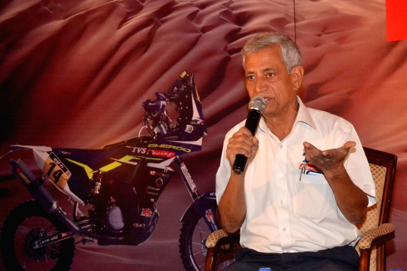 TVS Racing Head Arvind Pangaonkar addresses a press conference regarding Sherco TVS Rally Factory's participation in Dakar 2015, in Bengaluru on Dec 5, 2014.
