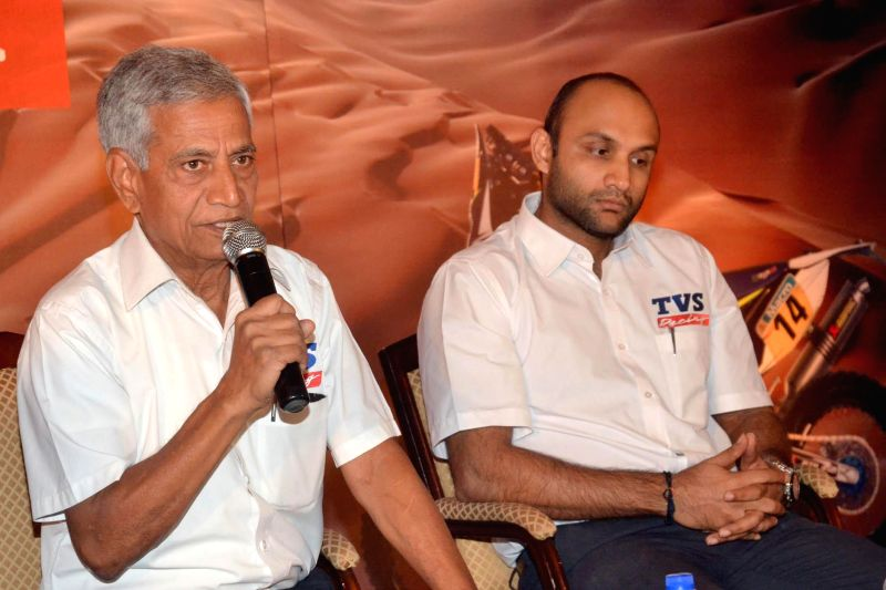 TVS Racing Head Arvind Pangaonkar with TVS Marketing head Arun Siddarth during a press conference regarding Sherco TVS Rally Factory's participation in Dakar 2015, in Bengaluru on Dec 5, ..