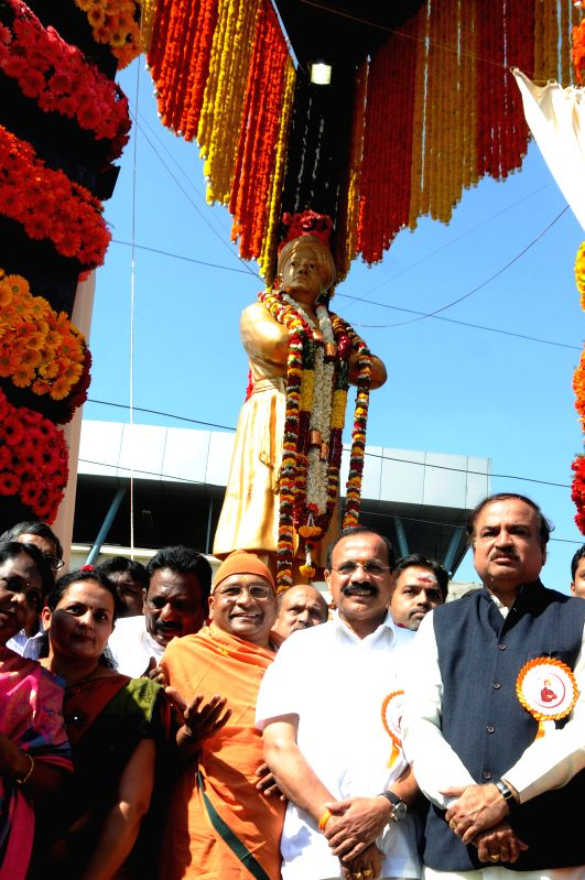 Union Chemical and Fertilizer Minister Anant Kumar, Union Minister for Law and Justice D.V. Sadananda Gowda and others at the inauguration of a statue of `Swami Vivekananda` on his birth .. - Anant Kumar