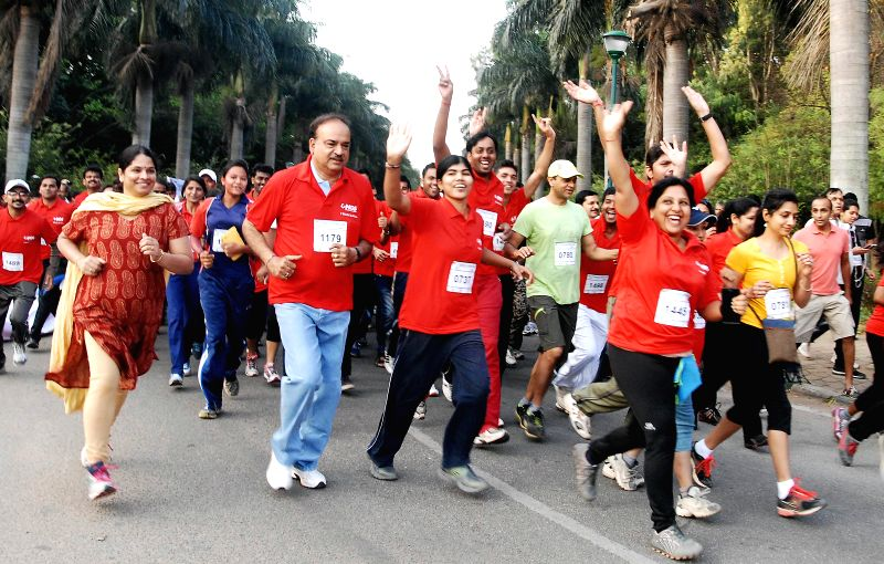 Union Chemicals and Fertilizers Minister Anant Kumar participates in the `Kanyathon 2015` oorganised on the International Women's Day in Bengaluru, on March 8, 2015. - Anant Kumar